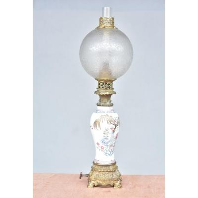 19th Century Carcel Oil Lamp On Canton Vase
