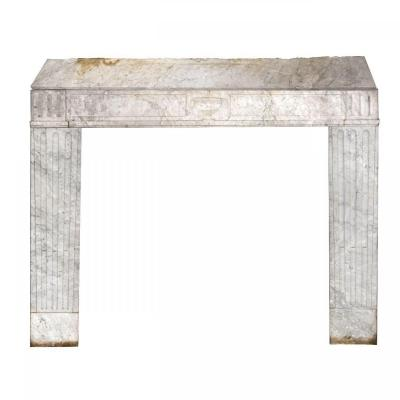 Large Antique Fireplace In White Marble Veined Louis XVI