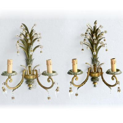 Pair Of Patina Sheet Sconces Tassels Pearls 1940