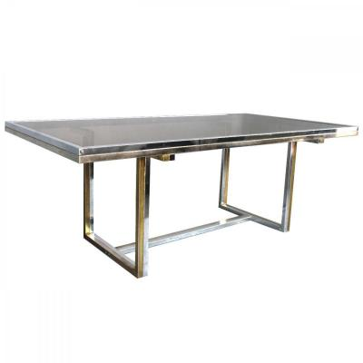 Vintage Table 1970 Chromed Metal And Glass