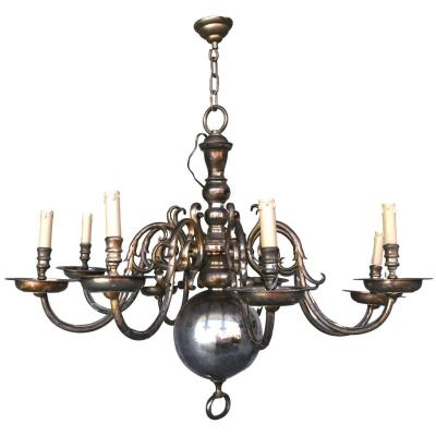 Dutch Chandelier And 2 Pairs Of Matching Sconces In Silver Bronze