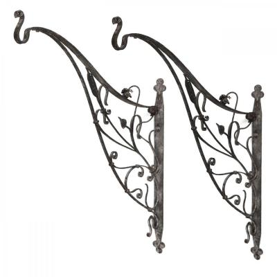 Pair Of Art Nouveau Wrought Iron Gallows With Flower Decor