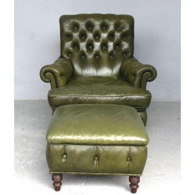 Chesterfield Leather Armchair Olive And Pouf