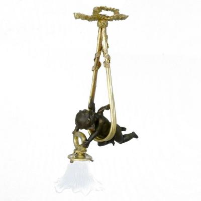 Tiny Chandelier With Baby Gilt Bronze Napoleon III
