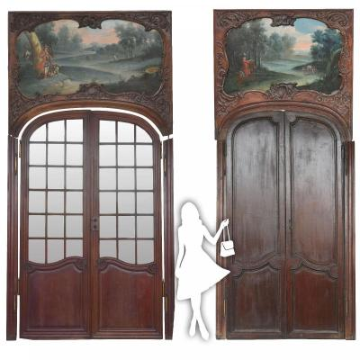 Spectacular Pair Of Louis XV Door In Mahogany Eighteenth Time