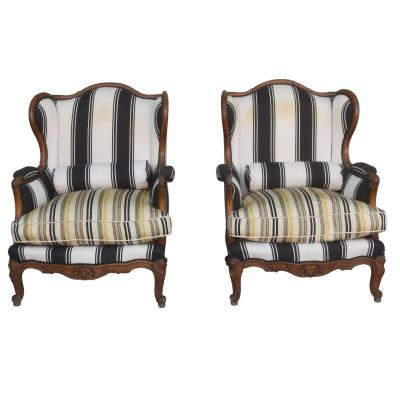 Pair Of Louis XV Style Bergère Armchairs In Walnut