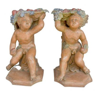 Pair Of Bacchus Babies In Polychrome Terracotta
