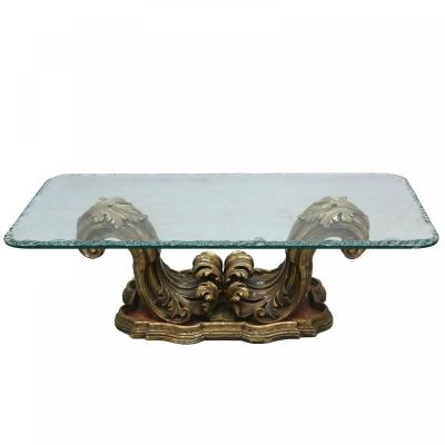Baroque Coffee Table In Golden And Lacquered Wood