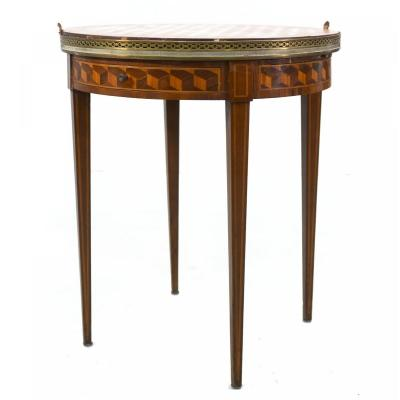 Louis XVI Style Inlaid Hot Water Bottle Table With Removable Tray