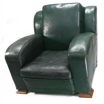 Club Chair In Green Leather Art Deco Period 1940