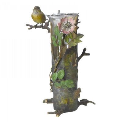 Vase Monté Par Un Bronze De Vienne Ancien Oiseau XIXème