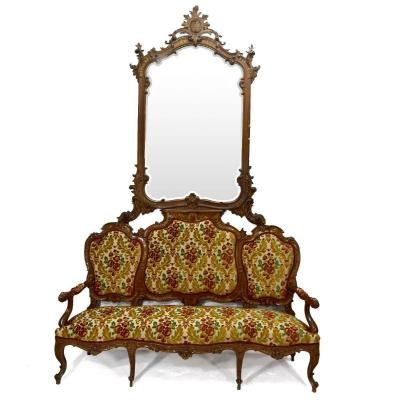 Louis XV Style Bench Tapestry And Mirror Late Nineteenth Time