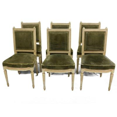 Series Of 6 Lacquered Louis XVI Style Chairs In Velvet 1880