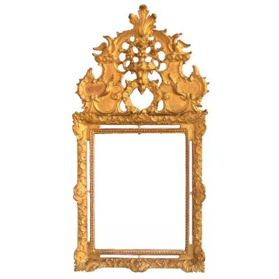 Large Mirror With Pare Close Louis XIV 'eighteenth Time In Golden Wood