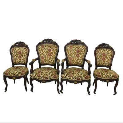 Living Room Chairs And Armchairs And Golden Bronzes 4 Rooms End Of The XIXth Precious Wood