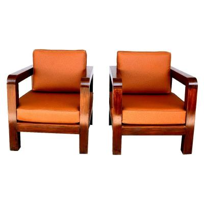 Pair Of Armchair 1940s Faux Ostrich Leather Havana