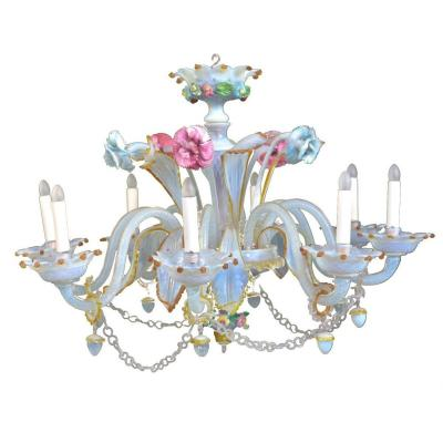 Murano Chandelier Opaline Glass With Tassels