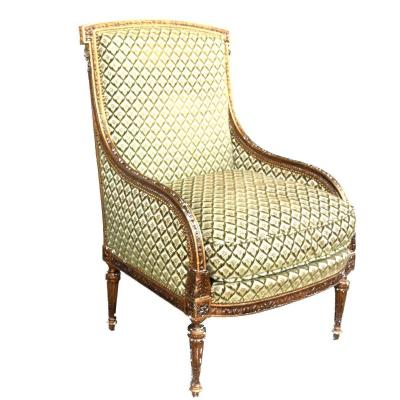 Louis XVI Style Golden Bergère Armchair Late Nineteenth