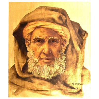 Oil On Panel On Gold Background Portrait Of Bedouin By Marcel Busson