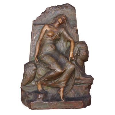 Bas Relief Bronze Légende Des Ruines Egyptomania Levasseur