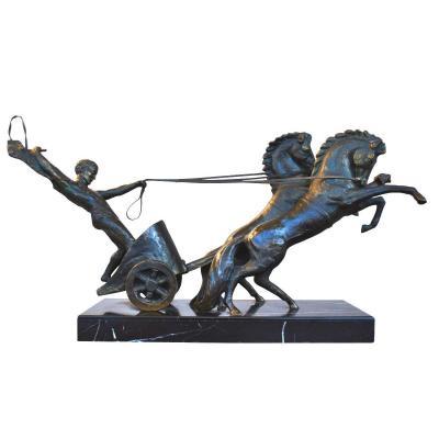 Bronze Représentant Char Romain Socle Marbre Par Michel Decoux