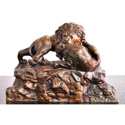 Bronze Animalier XIXème Non Signé Aux Lions