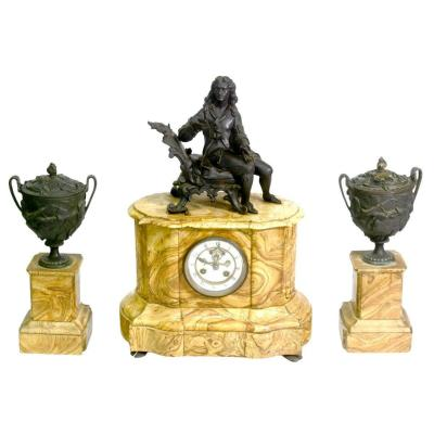 Garniture De Cheminée En Bronze à Décor De Personnage