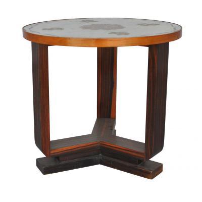1930 Pedestal Glass Top Macassar églomisé