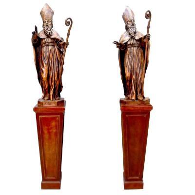 Pair Of Wooden Sculptures Representing 2 Bishops