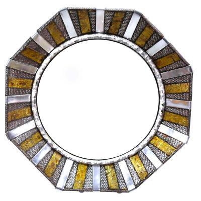 Miroir  Octogonal En Métal Années 80