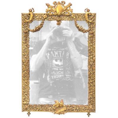 Miroir De Table  Napoléon III En Laiton XIXème