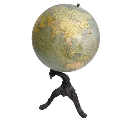 Globe Terrestre Ancien Socle Fonte Gerard Barrère Et Thomas Paris