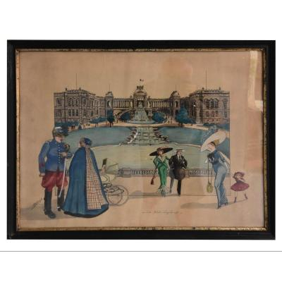 Le Palais Longchamps Watercolor Drawing Signed A. Goliard Dated 1911