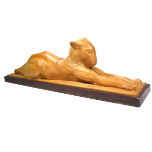Wood Sculpture Of A Reclining Panther By Christmas Angel Martini Art Deco Period