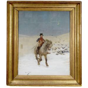 Le Cavalier Peinture De Georges Busson Début XXème