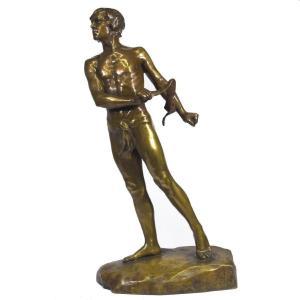 Bronze Gilt Patina Representative David Signed Charbonneau Dated 1909