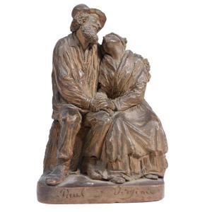 Sculpture En Terre Cuite Représentant Paul Et Virginie XIXème