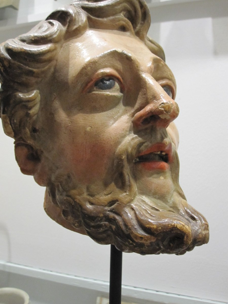 Saint's Head, Polychrome Carving From The 17th Century -photo-1