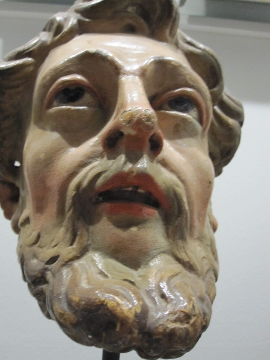 Saint's Head, Polychrome Carving From The 17th Century -photo-2