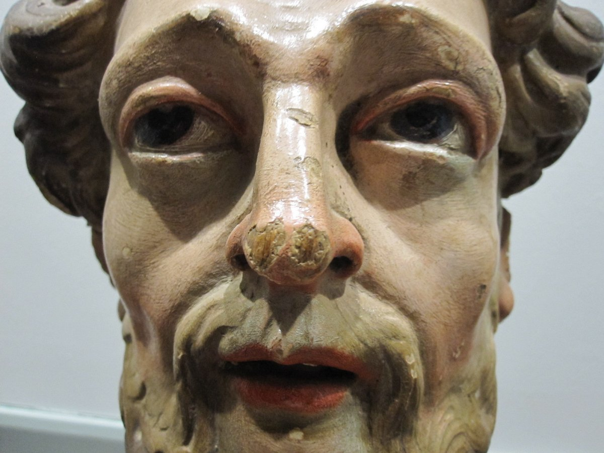 Saint's Head, Polychrome Carving From The 17th Century -photo-3