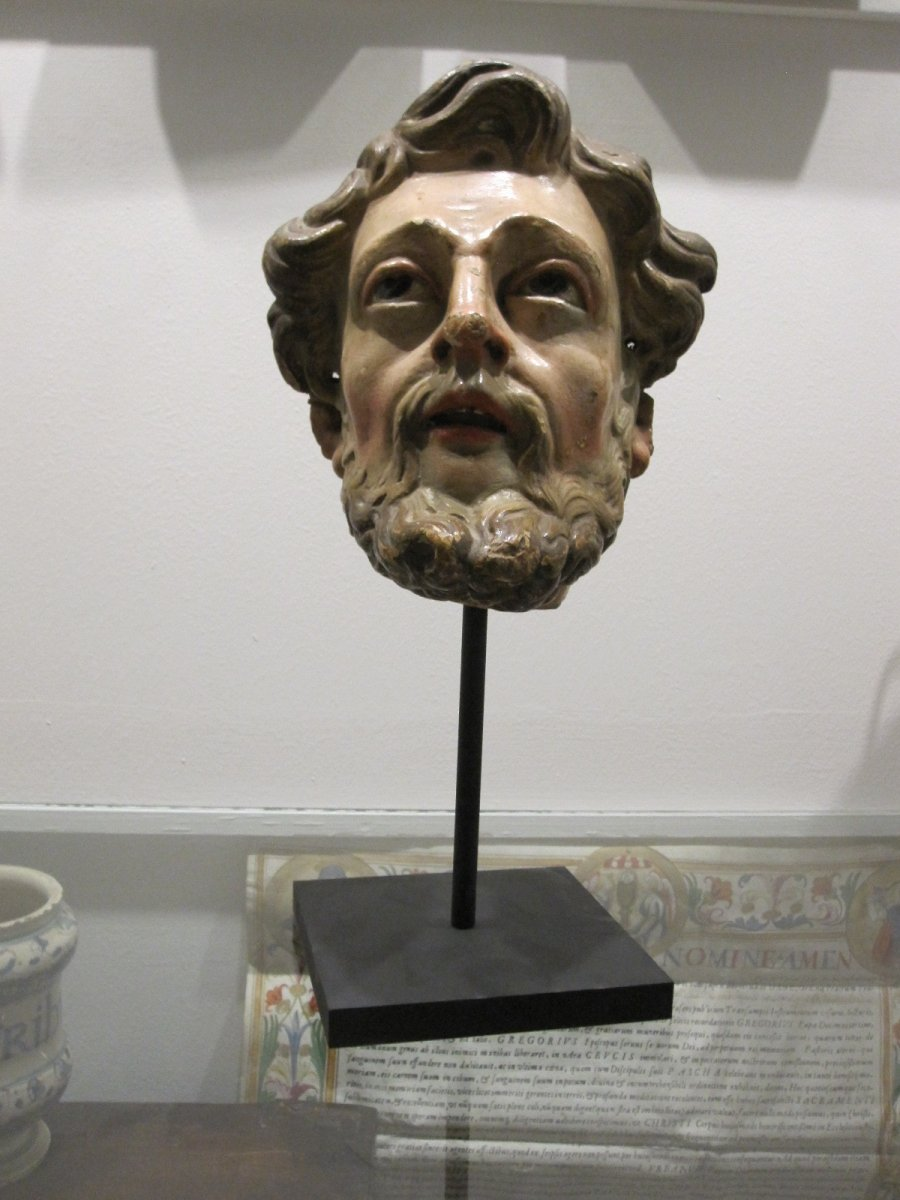 Saint's Head, Polychrome Carving From The 17th Century -photo-4