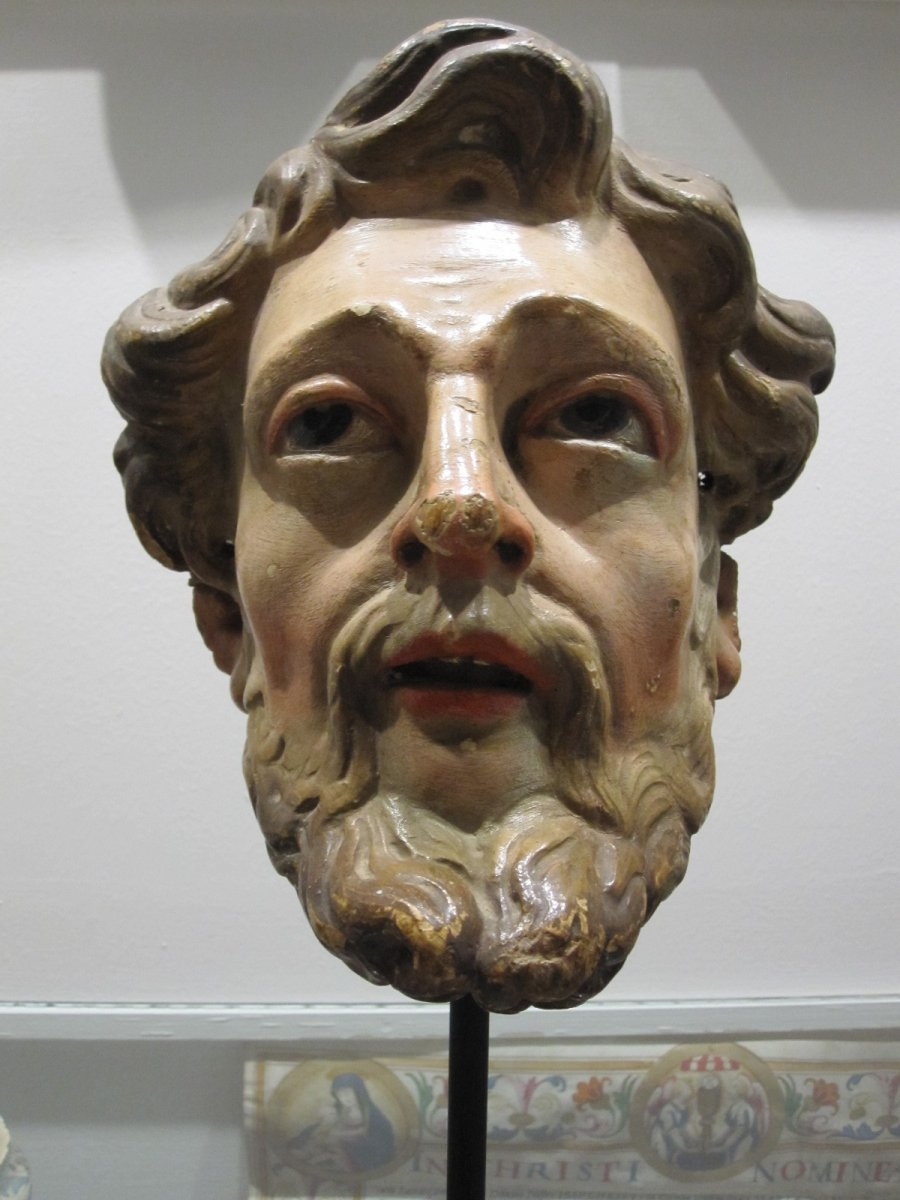 Saint's Head, Polychrome Carving From The 17th Century -photo-6