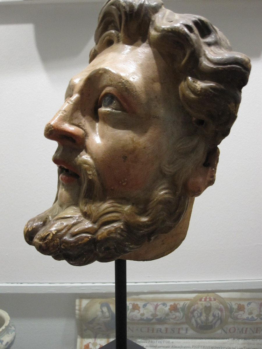Saint's Head, Polychrome Carving From The 17th Century -photo-7