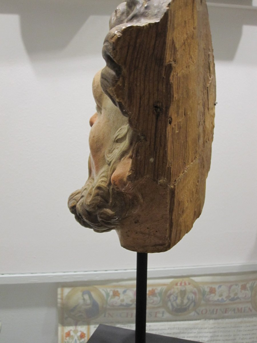 Saint's Head, Polychrome Carving From The 17th Century -photo-8