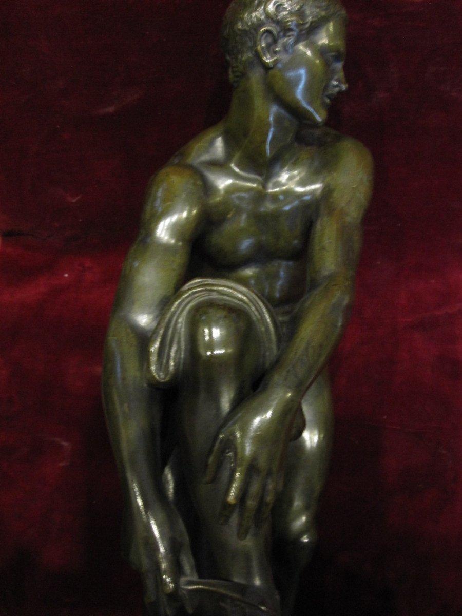 Jason Slips On His Sandal. Neoclassical Bronze Sculpture