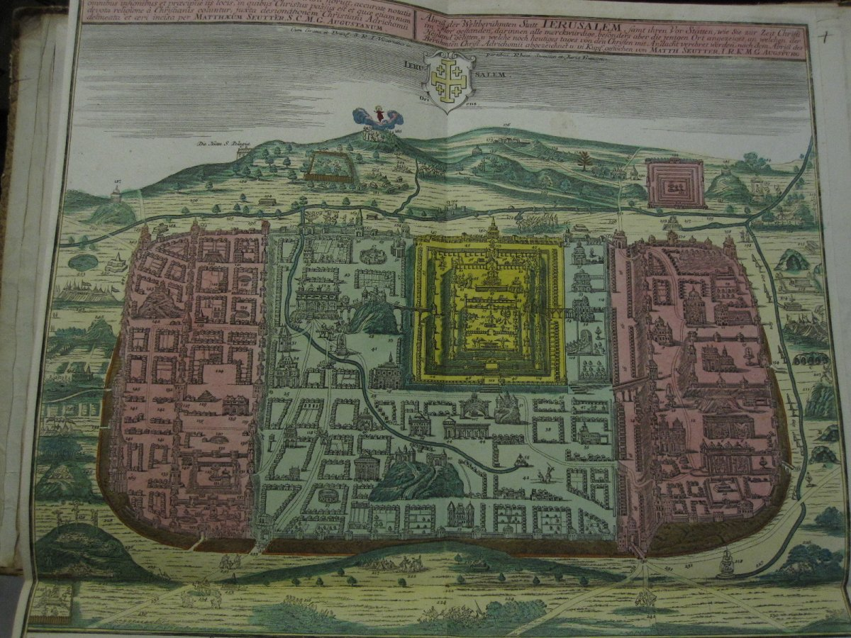 Large Map Of Jerusalem. Mateo Seutter 60 X 51 Cm. Colorful From The Time-photo-2
