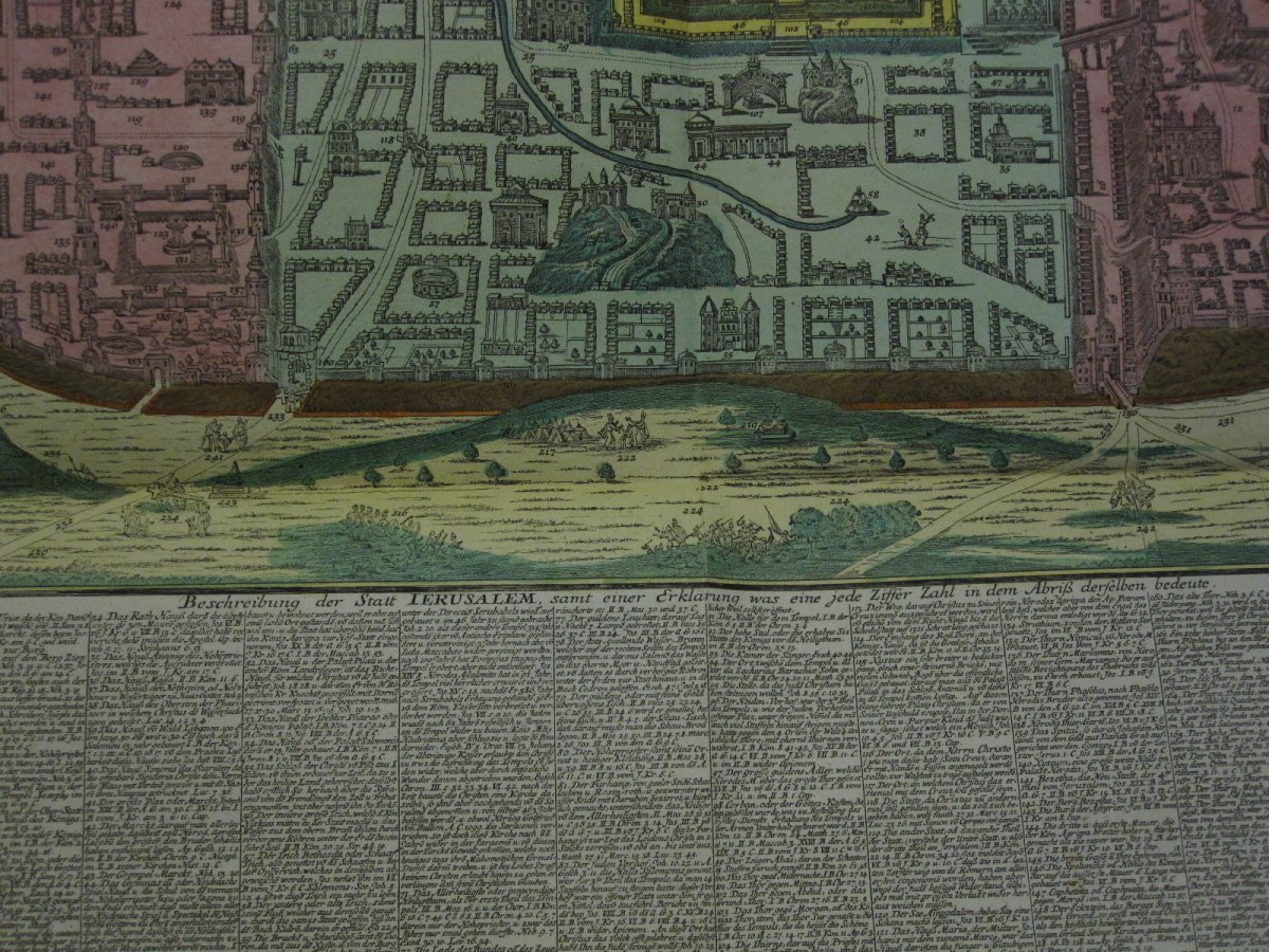 Large Map Of Jerusalem. Mateo Seutter 60 X 51 Cm. Colorful From The Time-photo-3