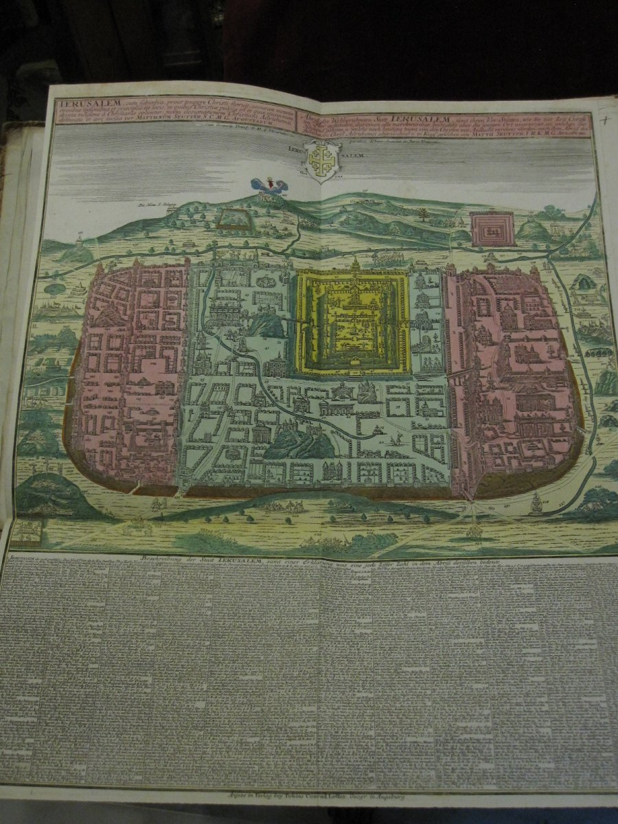 Large Map Of Jerusalem. Mateo Seutter 60 X 51 Cm. Colorful From The Time
