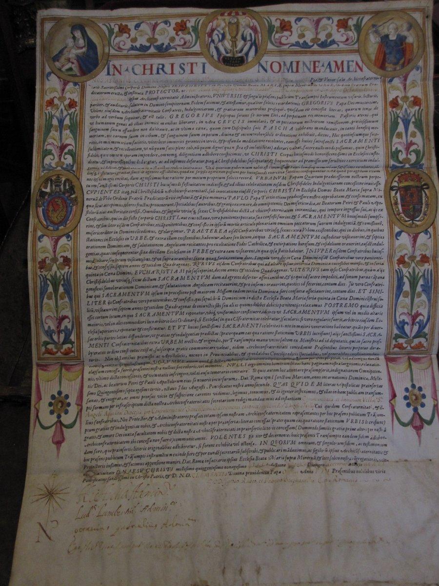 Important Document MiniÉ Sur  Parchemin De Clement VIII. AnnÉe 1595