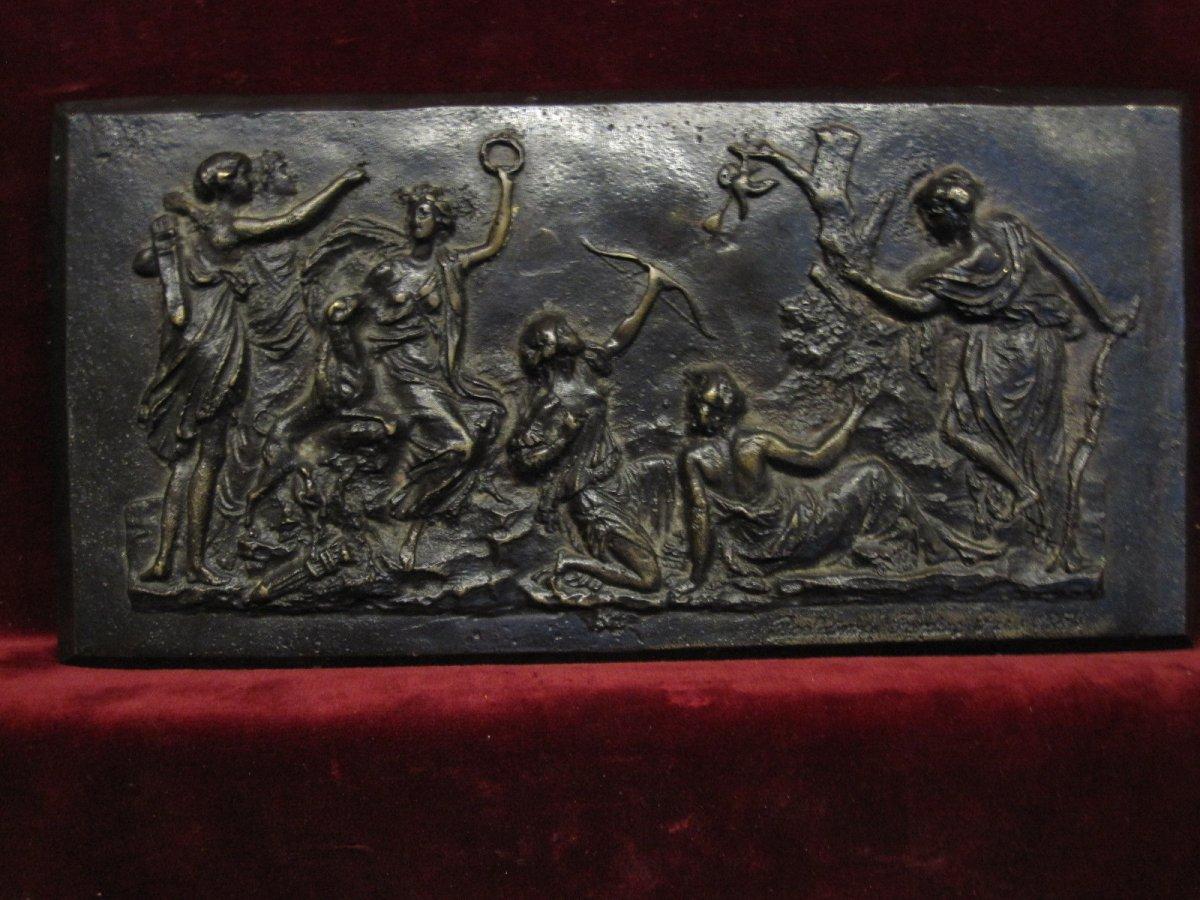 Bas-relief En Bronze à Scène Mythologique, Signé Barbedienne En 1859